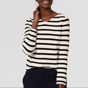 BRAND NEW!  LOFT Striped Lace Up Sweater